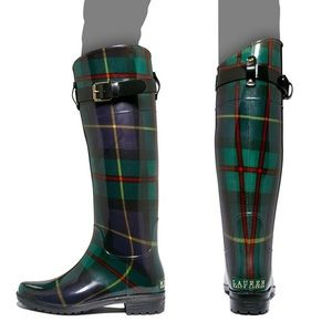 Ralph Lauren Rossalyn rainboots in green plaid
